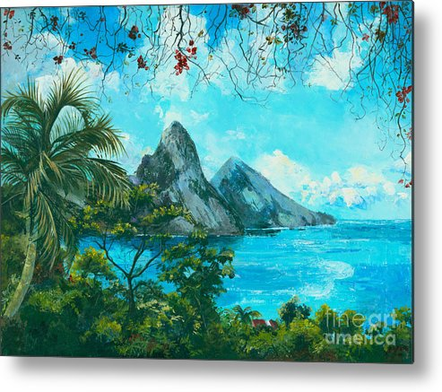 Mountains Metal Print featuring the painting St. Lucia - W. Indies by Elisabeta Hermann