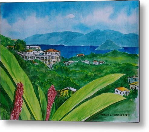 St Thomas Flower Plant Houses Hills Water Foreground Metal Print featuring the painting St. Thomas Virgin Islands by Frank Hunter