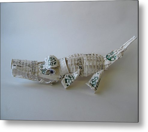 Coffee Metal Print featuring the sculpture Starbucks Gator by Alfred Ng