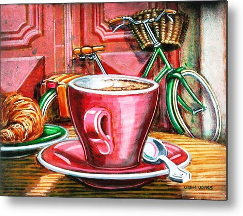 Still Life Metal Print featuring the painting Still Life With Green Dutch Bike by Mark Howard Jones