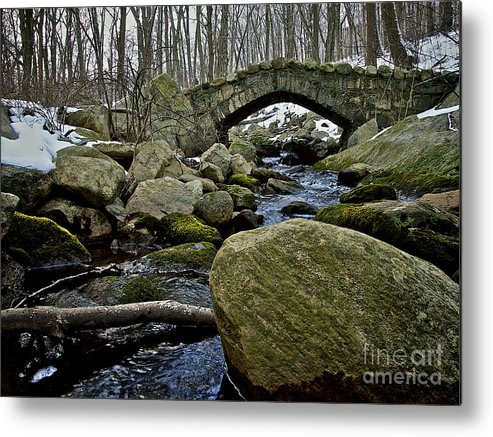 Stone Bridge Metal Print featuring the photograph Stone Bridge In Winter by Mark Miller