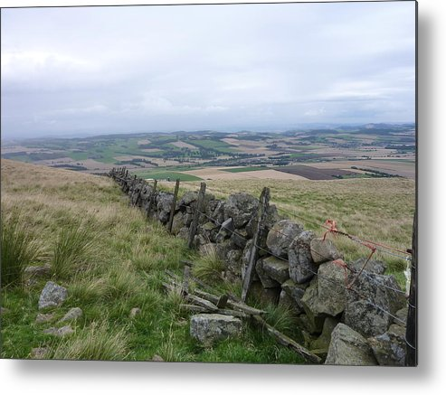 Scotland Metal Print featuring the photograph Old Dry Stacked Stone Fence Of Scotland by Diane Palmer