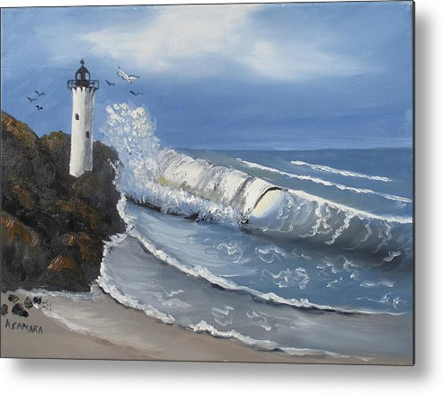 Seascape Metal Print featuring the painting Storm's Coming by Kathie Camara