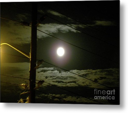 Full Moon Metal Print featuring the photograph Street Views 1 by Laura Yamada