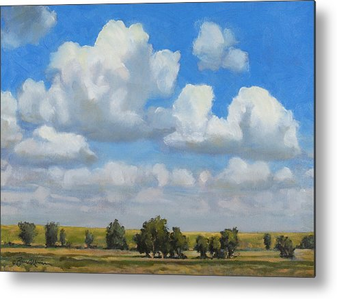 Landscape Metal Print featuring the painting Summer Pasture by Bruce Morrison