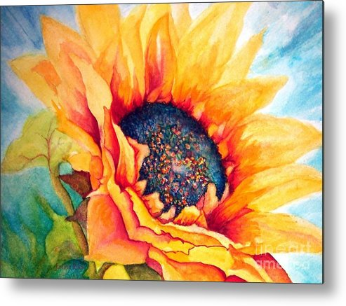 Sunflower Metal Print featuring the painting Sunflower Joy by Janine Riley