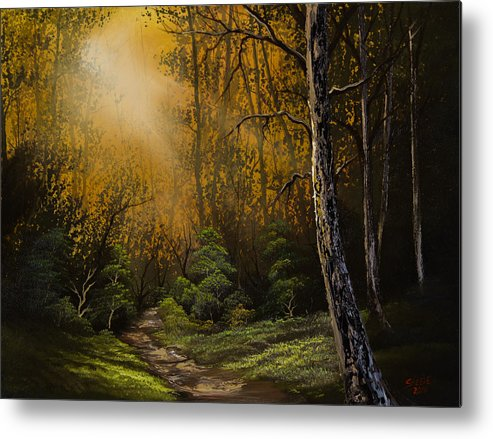 Landscape Metal Print featuring the painting Sunlit Trail by Chris Steele