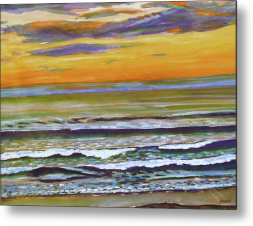 Maine Metal Print featuring the painting Sunset Along Maine Coast by Richard Nowak