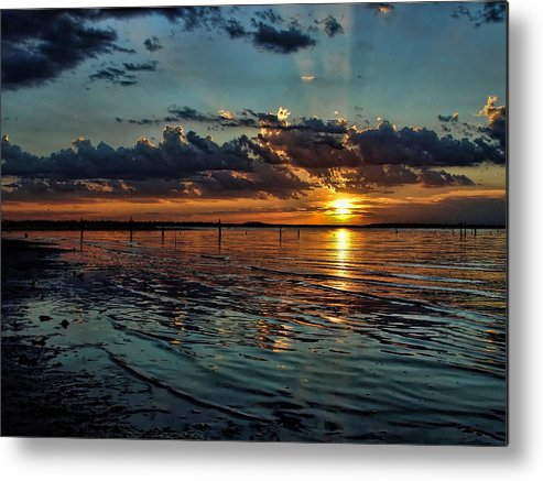 Sunset Metal Print featuring the photograph Sunset In Cyan by Carolyn Fletcher