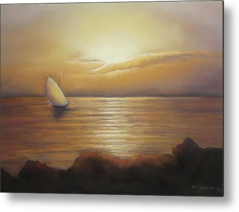 Landscape Metal Print featuring the painting Sunset Sailing by Maruska Lebrun