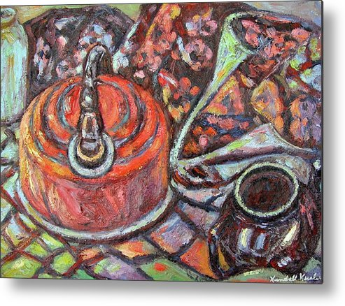 Still Life Metal Print featuring the painting Tea Time by Kendall Kessler
