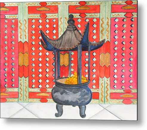 China Metal Print featuring the painting Temple Offerings by Patricia Beebe