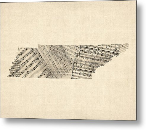 Tennessee Metal Print featuring the digital art Tennessee Map Sheet Music by Michael Tompsett