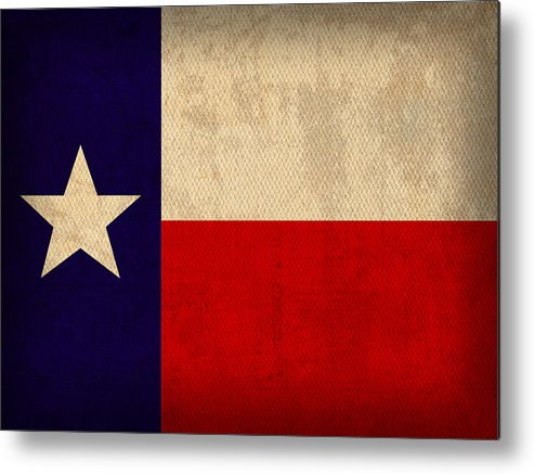 Texas State Flag Lone Star State Art On Worn Canvas Metal Print featuring the mixed media Texas State Flag Lone Star State Art On Worn Canvas by Design Turnpike