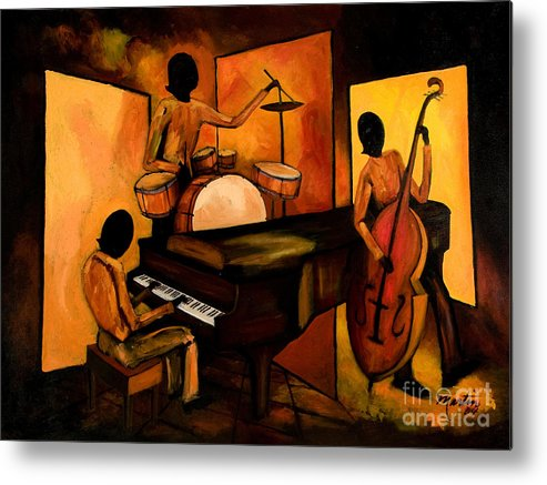 Jazz Metal Print featuring the painting The 1st Jazz Trio by Larry Martin