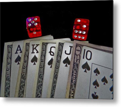 Cards Metal Print featuring the photograph The Art Of The Game by Dennis Dugan