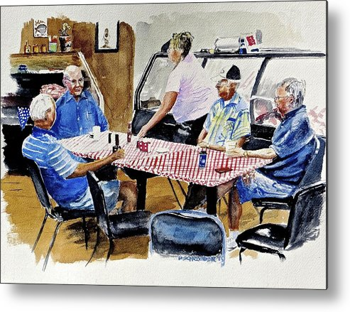 Coffee Bunch Metal Print featuring the painting The Coffee Shop by Don Schroeder