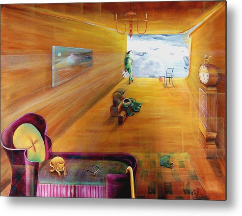 Fantasy Metal Print featuring the painting The End Of War by Blima Efraim