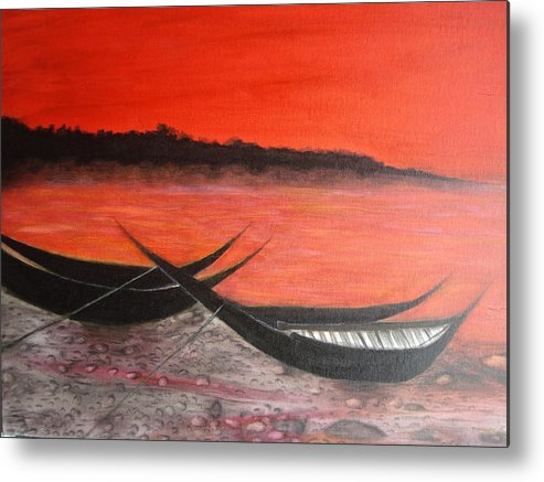 Boats Metal Print featuring the painting The Farewell Songs Part 1 by Prasenjit Dhar