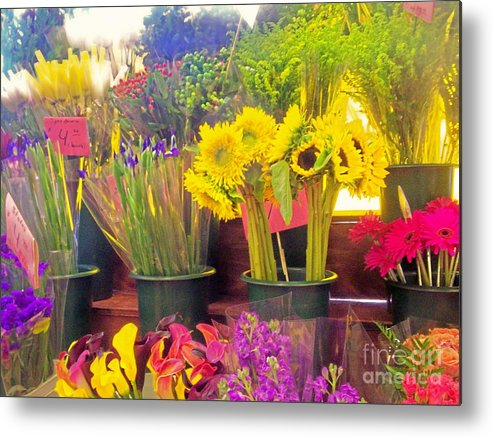 Flowers Color Sunflowers Nature Bloom Female Metal Print featuring the photograph The Flower Stand by Kristine Nora