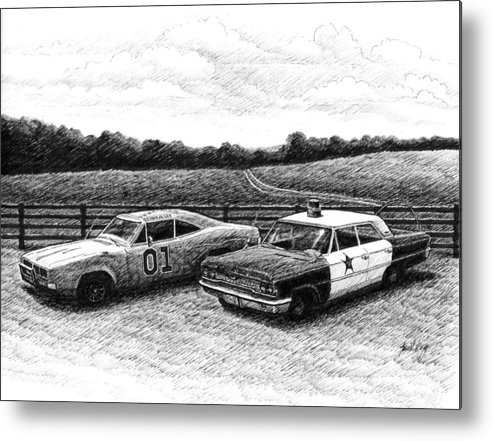 The General Lee Metal Print featuring the drawing The General Lee And Barney Fife's Police Car by Janet King