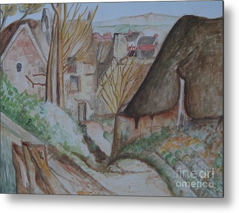 La Maison You Pendu Auvers-sur Oise After Cezanne Metal Print featuring the painting The House Of The Hanged Man After Cezanne by Caroline Street
