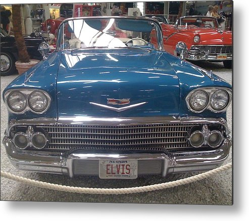 Blue Chevy Metal Print featuring the photograph Elvis In Blue by Christine Rivers