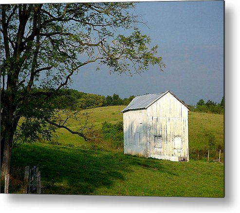 Landscape Metal Print featuring the photograph The Little White Barn by Laura Corebello