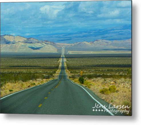 Landscape Metal Print featuring the photograph The Long Road Through Death Valley by Jens Larsen