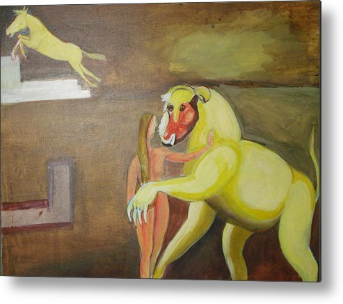 Horse Metal Print featuring the painting The Play by Prasenjit Dhar