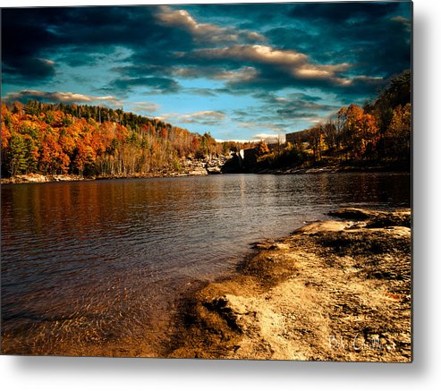 Clouds Metal Print featuring the photograph The Pool Below Upper Falls Rumford Maine by Bob Orsillo
