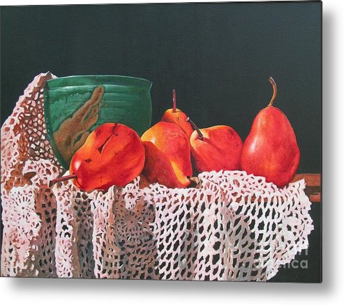 Cascading Metal Print featuring the painting The Potters Bowl by Sarah Luginbill