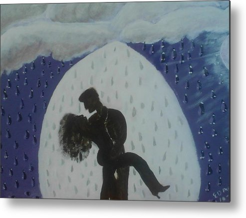 Lovers Metal Print featuring the painting The Wet Kiss by Ed Anderson