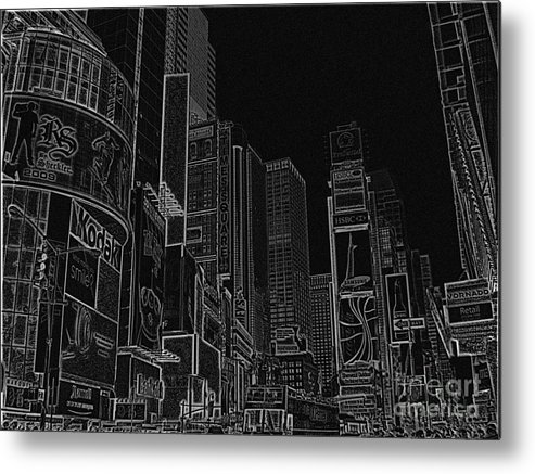 Times Square Metal Print featuring the digital art Times Square Nyc White On Black by Meandering Photography