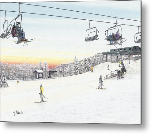 Seven Springs Mountain Resort Metal Print featuring the painting Top Of The Mountain At Seven Springs by Albert Puskaric