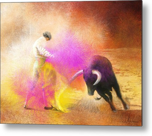 Bullfight Metal Print featuring the painting Toroscape 55 by Miki De Goodaboom