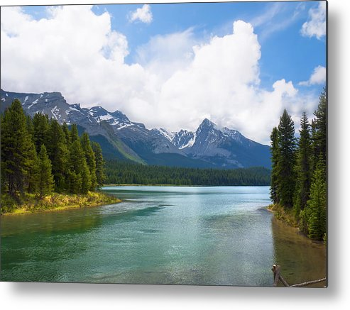 Maligne Metal Print featuring the photograph Tranquil Lake In The Canadian Rockies by Brenda Kean