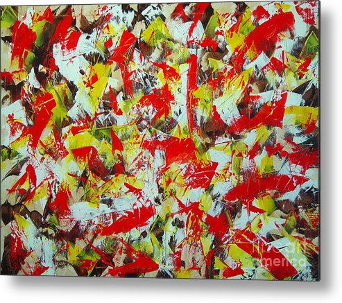 Abstract Metal Print featuring the painting Transitions With Yellow Brown And Red by Dean Triolo