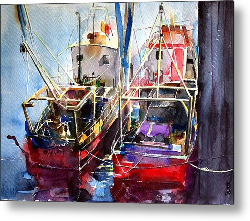 Landscape Metal Print featuring the painting Trawlers In Early Light by Noel Manning