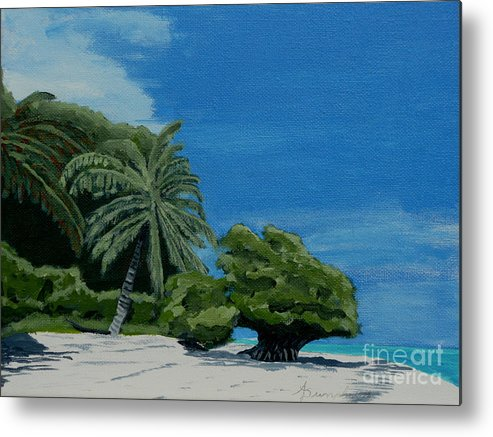 Beach Metal Print featuring the painting Tropical Beach by Anthony Dunphy