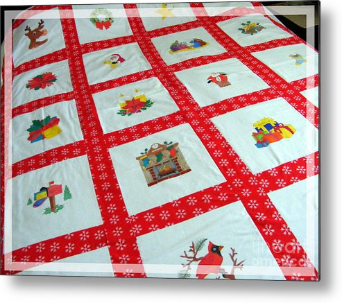 Unique Quilt With Christmas Season Images Metal Print featuring the tapestry - textile Unique Quilt With Christmas Season Images by Barbara Griffin
