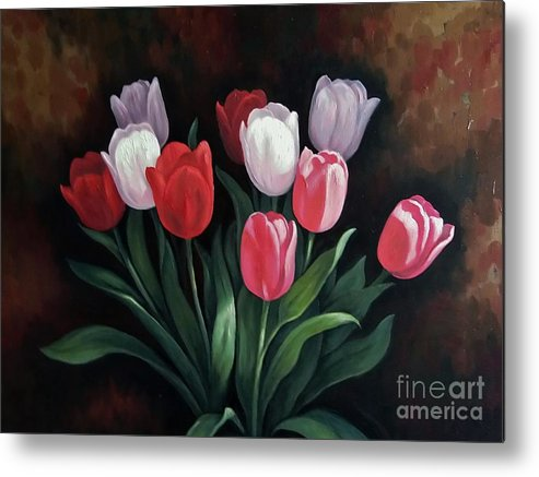 Flower Metal Print featuring the painting Valentine's Day Tulips by Ye Htut