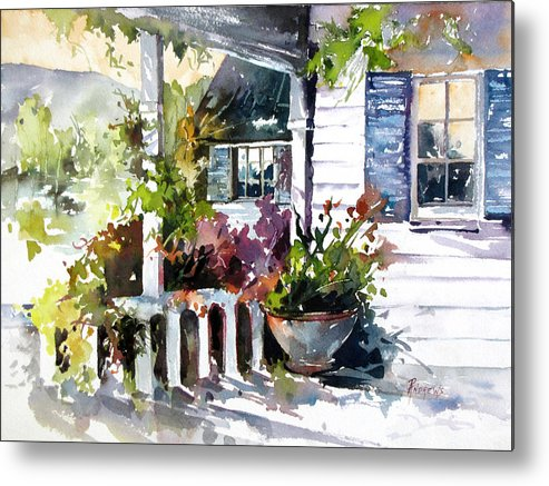 Porch Metal Print featuring the painting Veranda Shadows by Rae Andrews