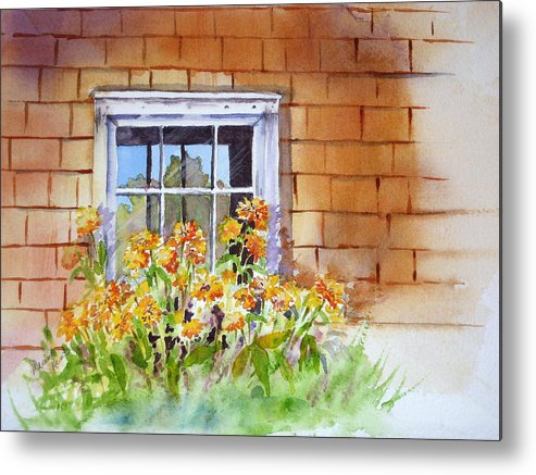Landscape Metal Print featuring the painting View Through The Window by Diane Lynn KENT