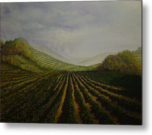 Fall Metal Print featuring the painting Vineyard by Mark Golomb