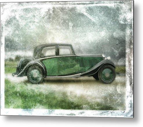Vintage Metal Print featuring the digital art Vintage Rolls Royce by David Ridley