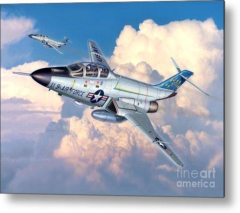 F-101 Metal Print featuring the digital art Voodoo In The Clouds - F-101b Voodoo by Stu Shepherd