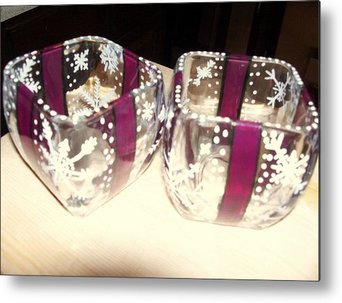 Metal Print featuring the photograph Votives Painted As Wrapped Packages by Gwenn Dunlap
