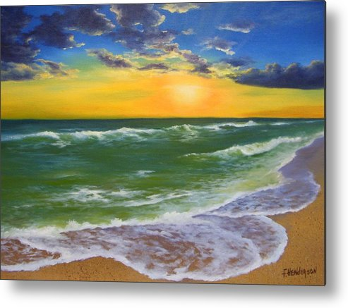 Seascape Metal Print featuring the painting Waters Edge by Francine Henderson
