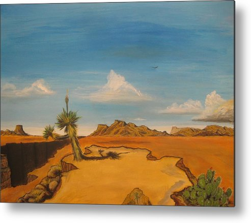 Texas Metal Print featuring the painting West Texas by Miguel Navarro